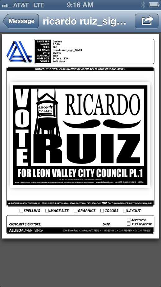 Ricardo Ruiz's campaign poster Photo: Ricardo Ruiz, Courtesy