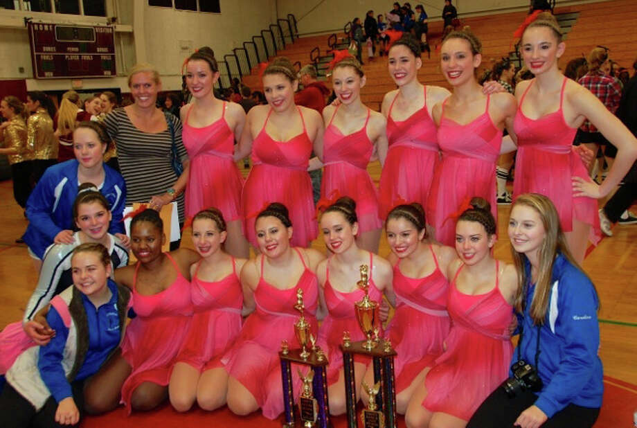 PRIZE-WINNING DANCE TEAM Members of the Fairfield Ludlowe High School dance team had reason to smile on Saturday, Feb. 1, after they took a pair of prizes in a fundraising competition at Torrington High School. Ludlowe topped 13 other dance squads to capture first plaze in the jazz category at the Compete for a Cure Dance Competition, which benefitted the St. Jude Children's Research Hospital. The team also took a second-place prize in the pom category, one of its coaches said. Front row, from left: Addie Meny, Breyah Moore, Sara Greenwald, Caroline Oliveira, Morgan Canner, Pam Blandon, captain Kelly Kochersperger, Caroline Wolstenholme. Back row, from left: Sophia Gabriel, Ally Kochersperger, coach Courtney Carbone, Nicole Pierpont, Susanna Casey, Kaite Haines, captain Melissa Purdy, captain Brigitte Dale, Katelin Adintori. Photo: Contributed Photo / Fairfield Citizen contributed