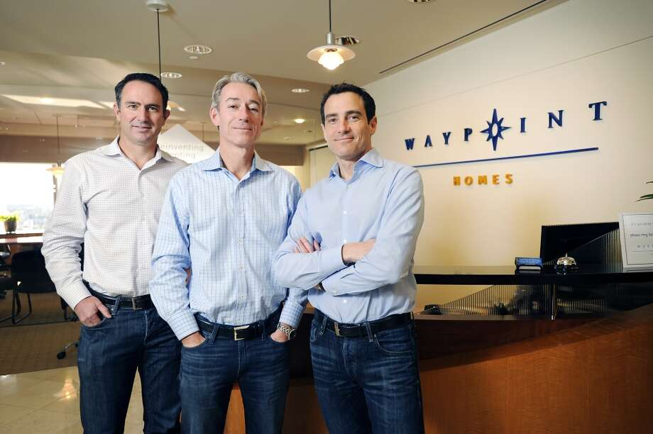 Co-CEO Doug Brien (left), co-CEO Gary Beasley, and chief information officer Colin Wiel of Starwood Waypoint Residential Trust in Oakland, which listed shares on Wall Street on Monday. (Michael Short/Special to the Chronicle) Photo: Michael Short, Special To The Chronicle