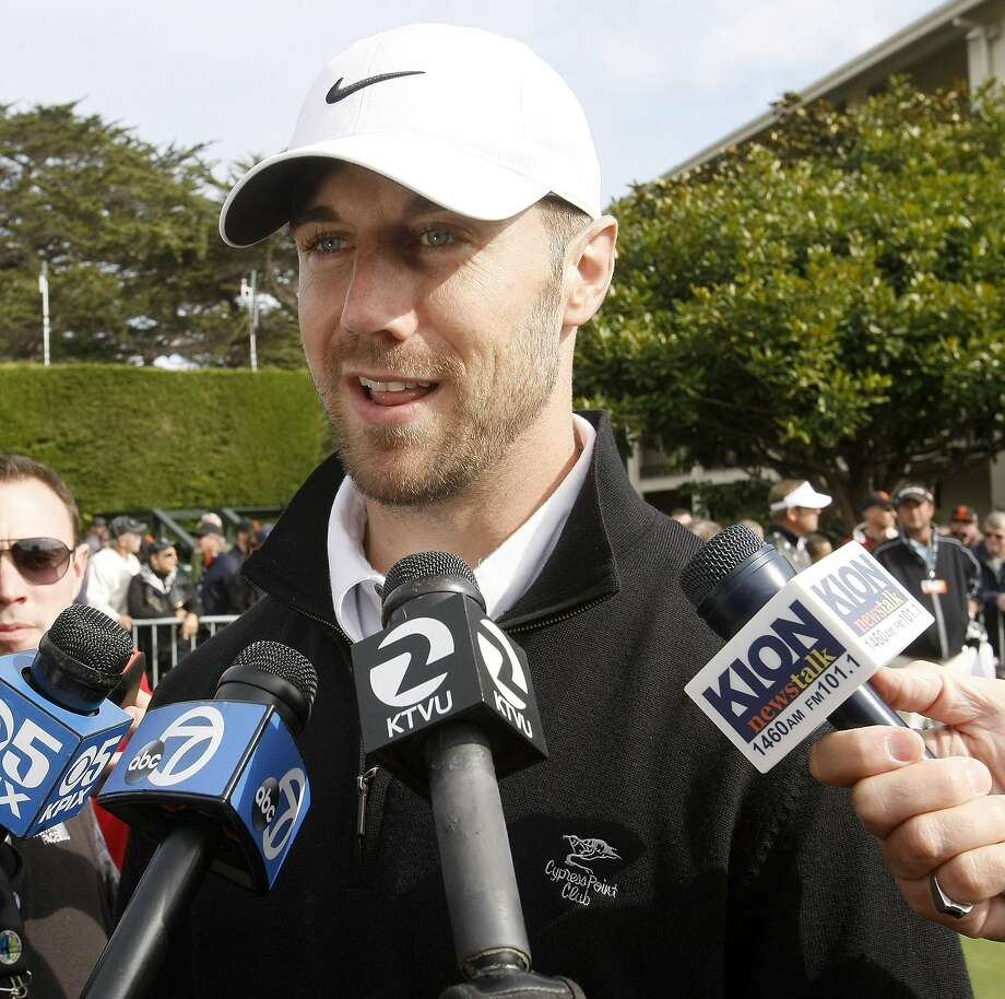 Former 49ers quarterback Alex Smith, now with the Kansas City Chiefs, talks with the media prior to the start of the Chevron Charity Shoot-Out. Members of the San Francisco 49ers versus members of the San Francisco Giants at the Pebble Beach Golf Links in Pebble Beach, Calif., on Tuesday, Feb. 4, 2014. (Vern Fisher/Monterey County Herald/MCT) Photo: Vern Fisher, McClatchy-Tribune News Service