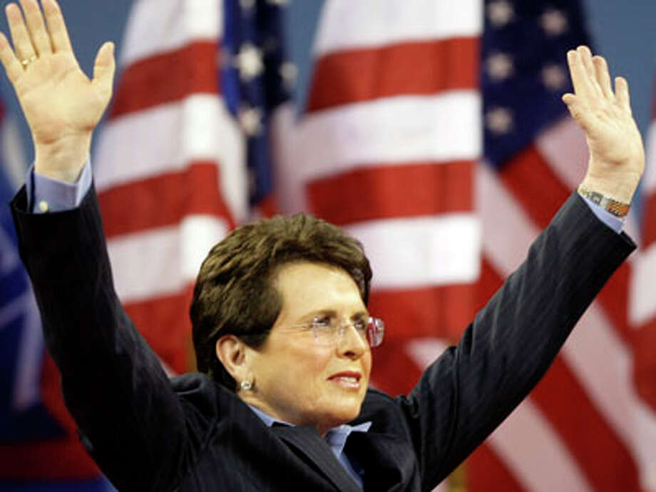 Former U.S. Open champion Billie Jean King, the woman for whom the USTA Billie Jean King National Tennis Center is named, acknowledges the applause during opening ceremonies at the U.S. Open tennis tournament in New York, Monday, Aug. 25, 2008. (AP Photos/Elise Amendola) Photo: Elise Amendola, ASSOCIATED PRESS / AP2008