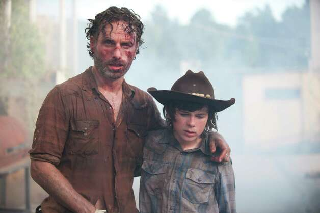 Rick Grimes (Andrew Lincoln) and Carl Grimes (Chandler Riggs) - The ...