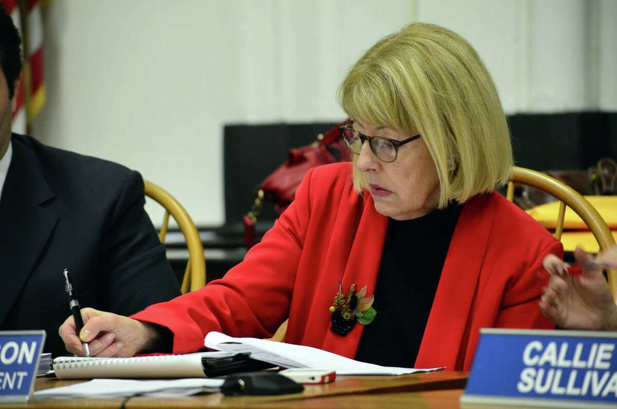 Interim Superintendent Lynne Pierson takes notes at the Board of Education budget hearing on Tuesday, Feb. 4.