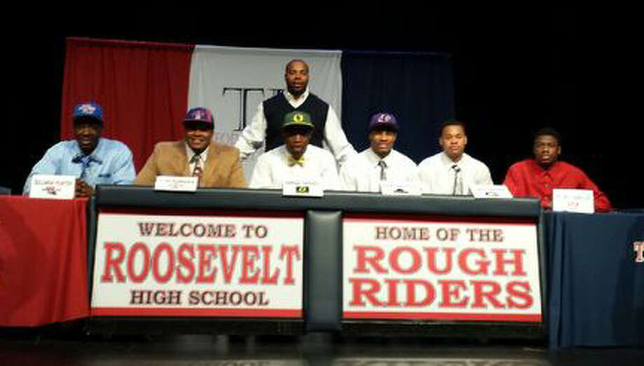 Roosevelt players who signed Feb. 5 (from left): Solomon Hunter - La Tech; Trae' Gardner- Houston Baptist ; Arrion Springs- Oregon; Jonathan Taylor- Prairie View; Tim Johnson- A&M Commerce;   Nathan Dillard - Trinity Valley. Photo: Courtesy Photo
