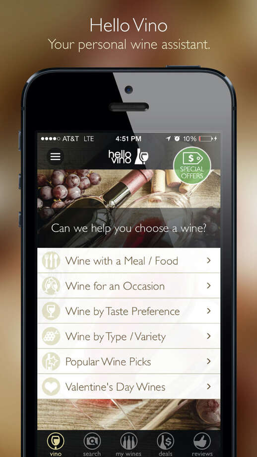Hello Vino allows you to get wine recommendations on your iPhone. (PRNewsFoto/Hello Vino) / 02042014 HELLO VINO