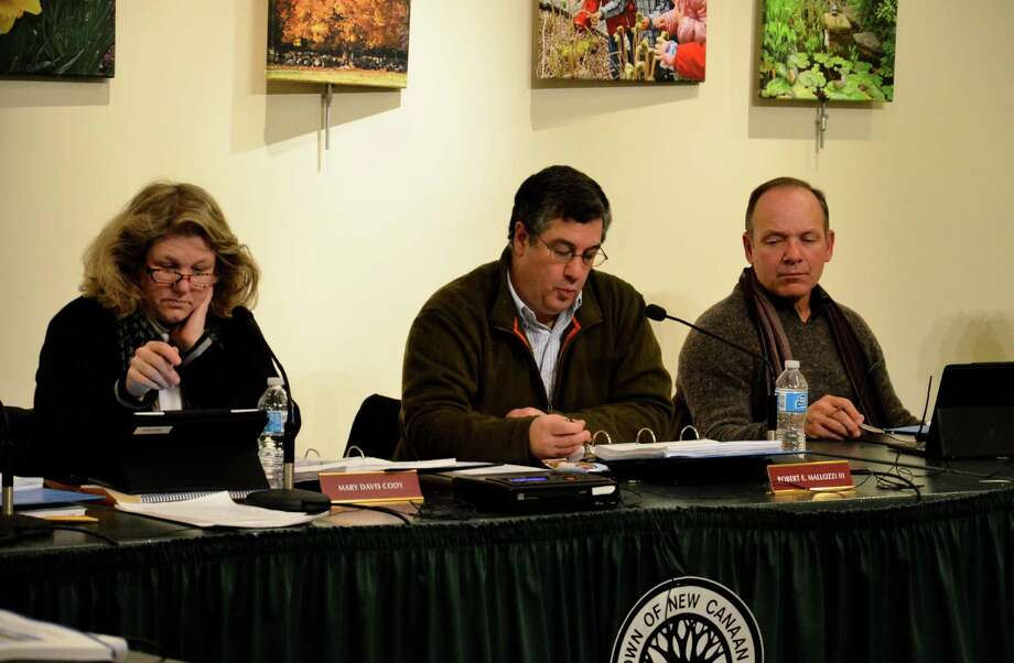 Board of Finance members Mary Davis Cody, Robert Mallozzi and Neil Budnick at a Feb. 5 meeting at the Nature Center in New Canaan, Conn. This was the first of a series of meetings the board will hold to discuss the town's 2014-15 budget. Photo: Nelson Oliveira / New Canaan News