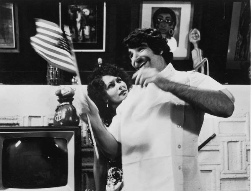 The film starred Harry Reems and Linda Lovelace, who are shown here from a scene in the movie.