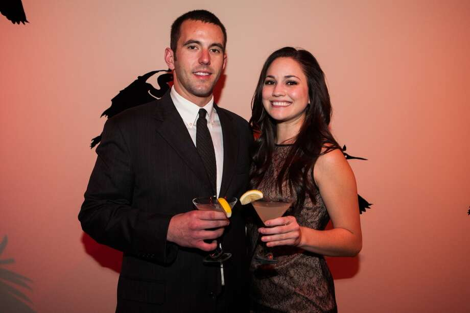 Thomas Hammer and Amanda Lighter pose during Martini Madness at the Houston Center for Contemporary Craft Thursday January 30. Photo: Michael Starghill, Jr.
