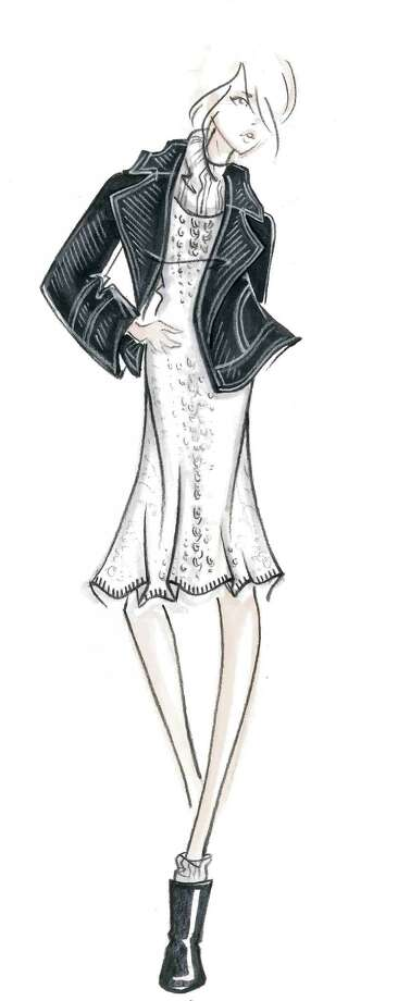 A sketch from designer Serge Azria for his fall 2014-15 Joie collection that will be a tough and tender menswear-inspired show with feminine details via color, silhouette and Òluxurious wools in ombrŽ colors and plaids and multi-dimensional knits.Ó  He will present the collection during Mercedes-Benz Fashion Week's fall 2014-15 collections from American designers that kicks off Thursday, Feb. 6, 2013 at Lincoln Center and across Manhattan. Nearly 300 designers, well known and emerging talent, will participate. Photo: Courtesy Photo / San Antonio Express-News