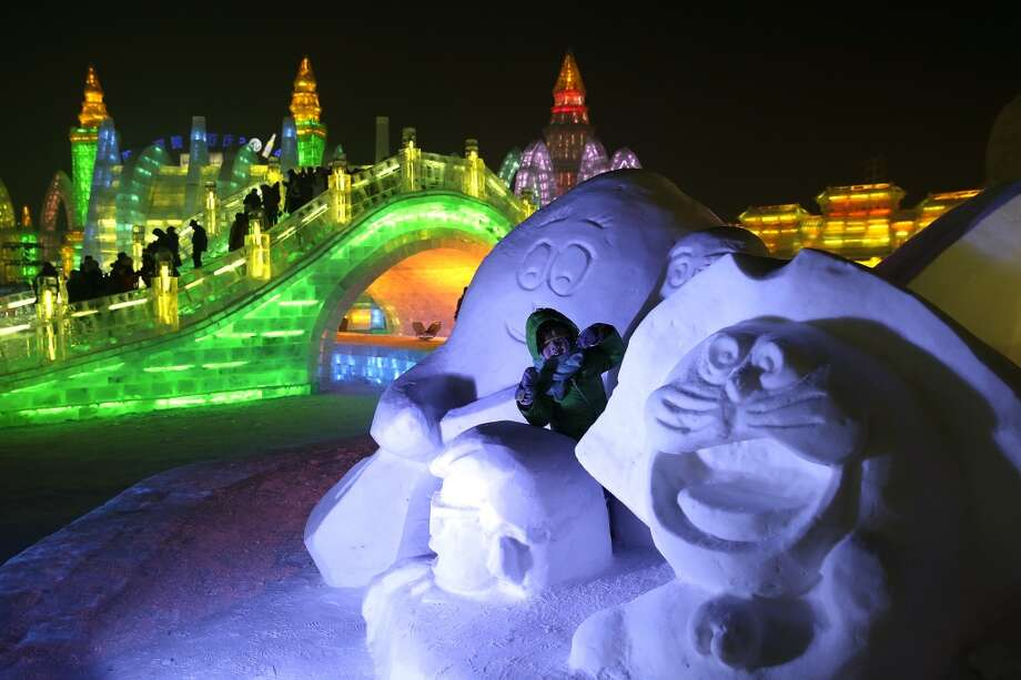 The Harbin International Ice and Snow Festival in China. Photo: Lintao Zhang, Getty Images