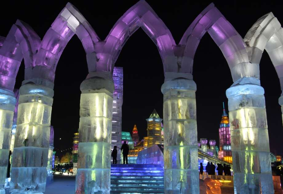 The Harbin International Ice and Snow Festival in China. Photo: ChinaFotoPress, Getty Images