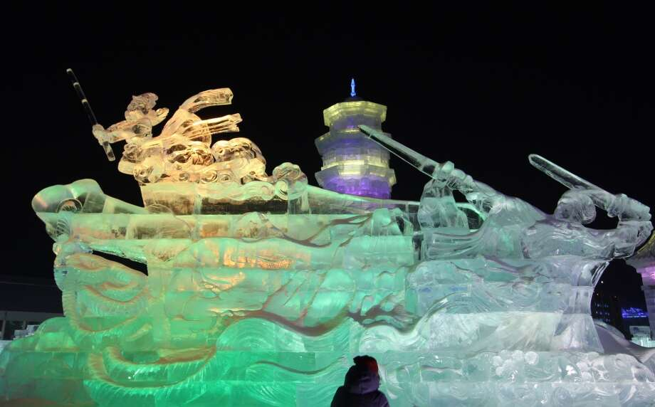 The Harbin International Ice and Snow Festival in China. Photo: ChinaFotoPress, ChinaFotoPress Via Getty Images