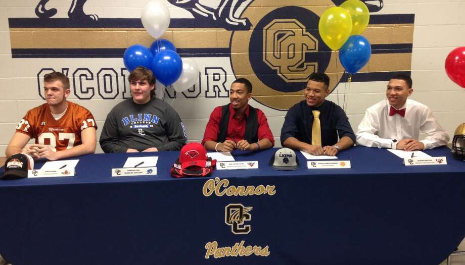 O'Connor football players signing to play on the collegiate level are (from left): Jake Seaman, TE, Waynesburg University; Robert Cox, OL, Blinn College; Jeilyn Williams, CB/RB, Incarnate Word; Marces Garza-Dishmon, LB, Texas A&M-Commerce; and Alonso Roscoe, WR/DB, Incarnate Word.