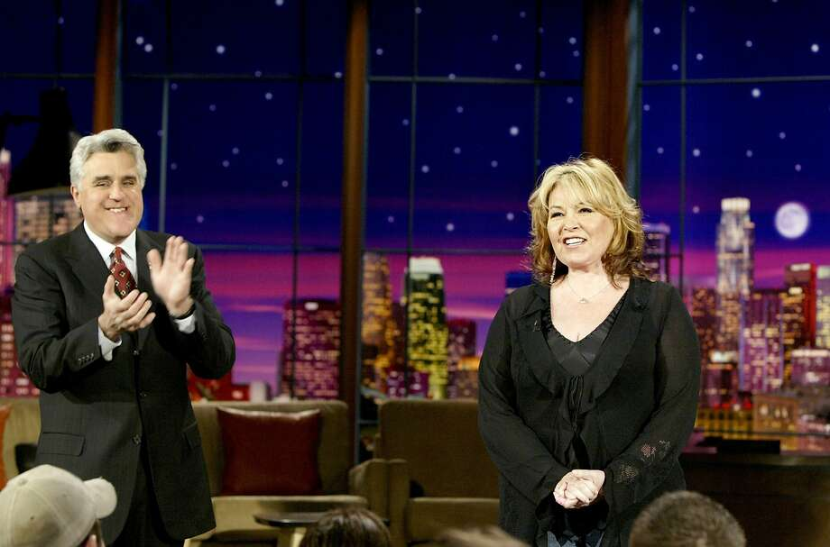 "Roseanne Barr appears alongside Jay Leno to tell the Michael Jackson monologue jokes on NBC's ""The Tonight Show With Jay Leno"" on March 8, 2005. Leno couldn't talk about the case because he was a witness, so ... comics do the deed for him.  Photo: Nbc"