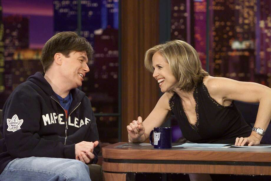 Jay Leno and Katie Couric swapped jobs one day. Here she plays guest host, interviewing on May 12, 2003  Photo: Nbc, Paul Drinkwater/NBCU Photo Bank