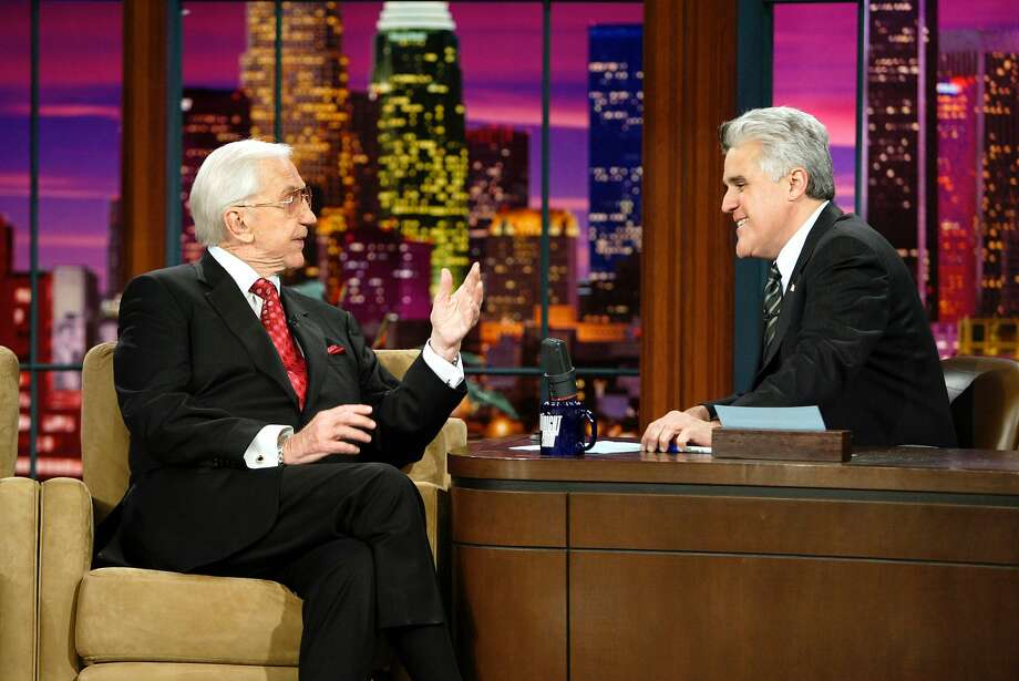 "Ed McMahon and Jay Leno talk about the late Johnny Carson on January 25, 2005, in a tribute show to the great ""Tonight Show"" host. Photo: Nbc"