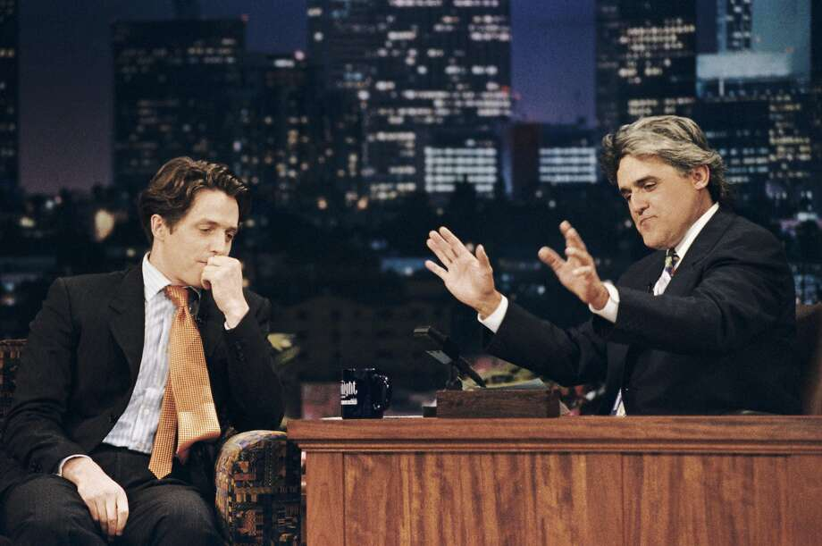"Jay Leno ends his ""Tonight Show"" era — again — on Feb. 6. Love him or hate him, here are some memorable moments of his ""Tonight Show.""Actor Hugh Grant has an awkward interview with Jay Leno on July 10, 1995, just two weeks after Grant's highly publicized arrest for picking up a prostitute. Leno asked Grant, ""What the hell were you thinking?"" Photo: Margaret Norton"