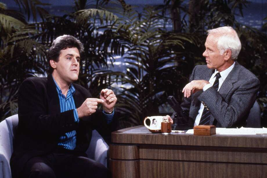 Before he took over the big chair, Jay Leno was a regular guest on the show with Johnny Carson on June 22, 1988. Photo: Nbc