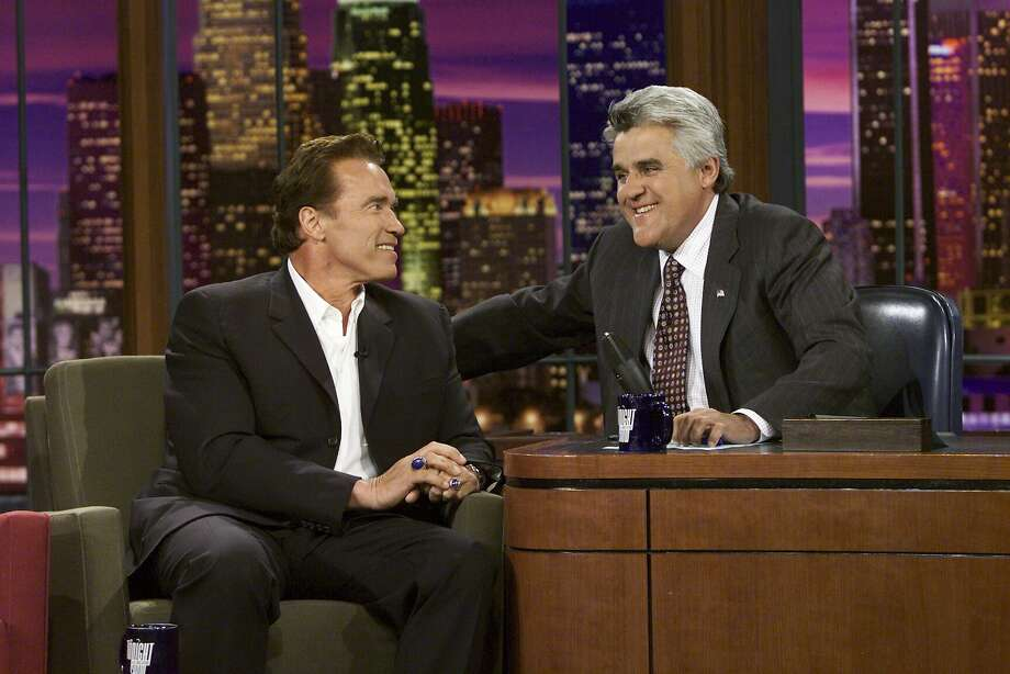 Arnold Schwarzenegger announced his run for California Governor to Jay Leno on August 6, 2003  Photo: Nbc, Paul Drinkwater/NBCU Photo Bank