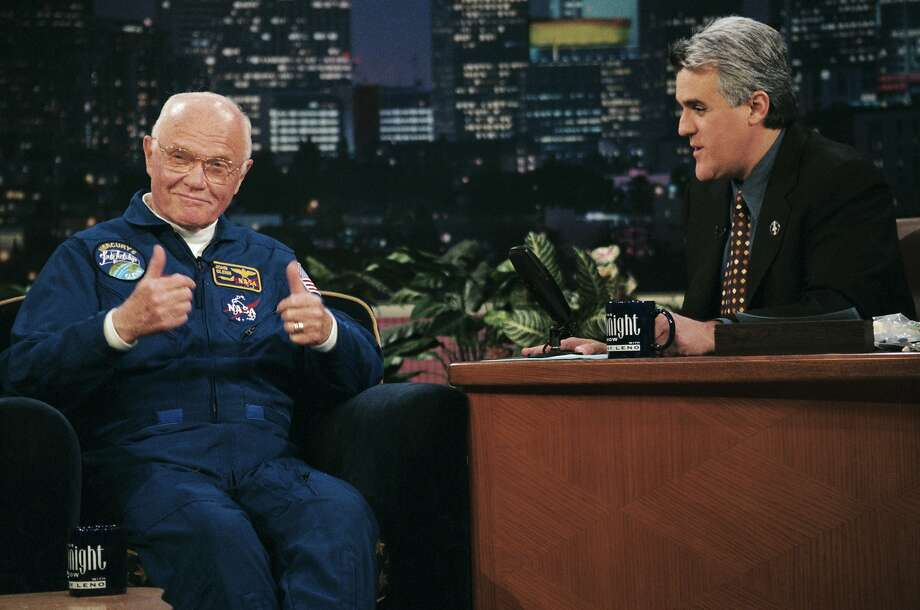 Astronaut John Glenn gives the thumbs up during an interview with host Jay Leno on November 20, 1998  Photo: Nbc, Margaret Norton/NBCU Photo Bank