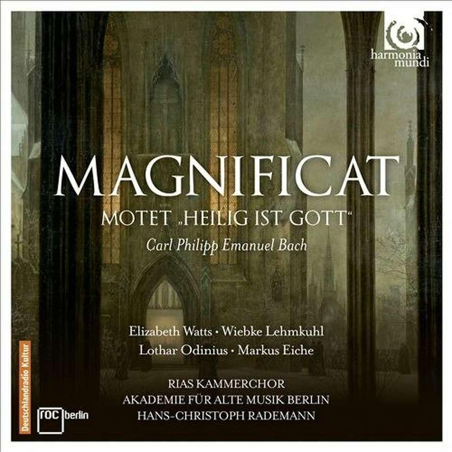 cd cover: CPE Bach's Magnificat, performed by Akademie Fur Alte Musik Berlin. Photo: Harmonia Mundi, Amazon.com