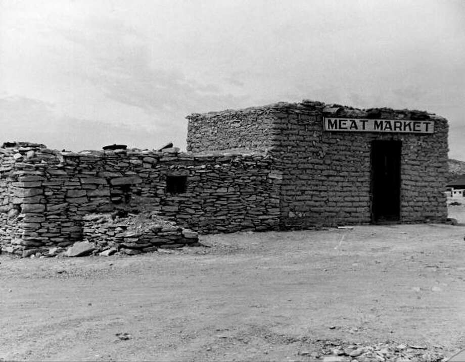 A view showing the meat market in the quicksilver mining town of Terlingua.  (Photo by Carl Mydans//Time Life Pictures/Getty Images) Photo: Carl Mydans, Time & Life Pictures/Getty Image / Time Life Pictures
