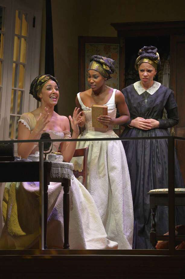 "Sisters Agnes (Tiffany Rachelle Stewart), Odette (Joniece Abbott-Pratt, left) and Maude Lynn (Flor De Liz Perez) prepare to face an uncertain future in Marcus Gardley's ""The House That Will Not Stand."" at Berkeley Repertory Theatre. Photo: Kevinberne.com / ONLINE_YES"