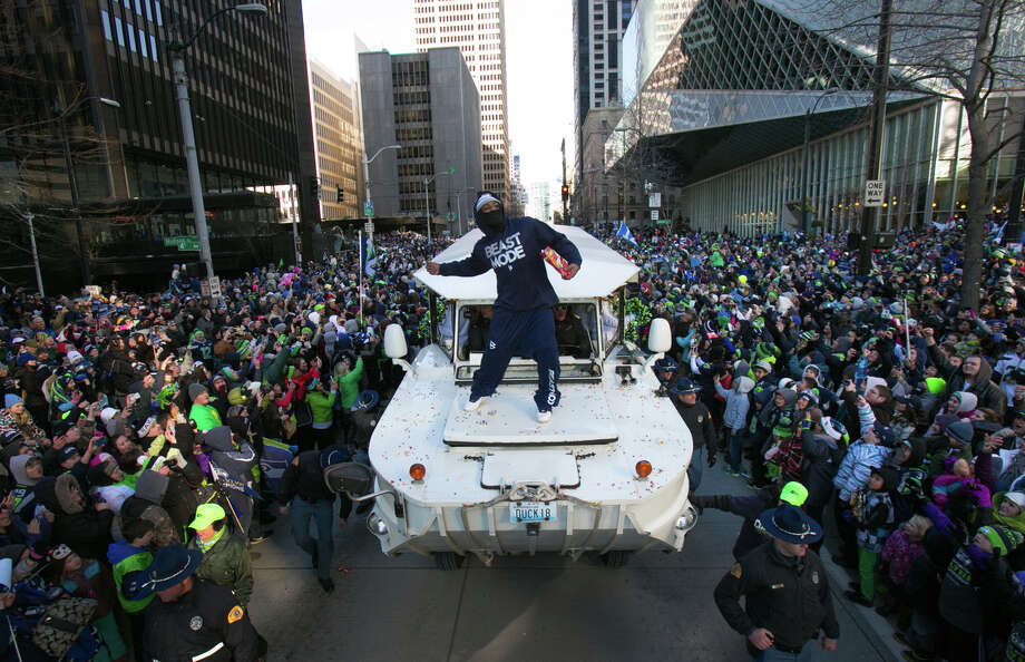 Marshawn Lynch, seen here at the Seahawks' victory parade following Super Bowl XLVIII, announced his retirement on Sunday. Could he earn a spot in the Pro Football Hall of Fame? Photo: JOSHUA TRUJILLO, SEATTLEPI.COM / SEATTLEPI.COM