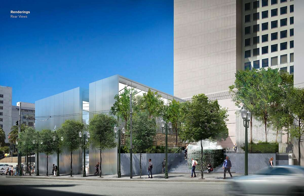 The Stockton Street side of the proposed Apple store in San Francisco's Union Square has been redesigned to include a deep window cutting the steel wall, and a plaza that preserves a popular fountain by Ruth Asawa.
