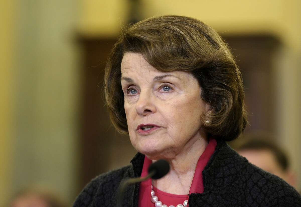 Sen. Dianne Feinstein, D-Calif. speaks on Capitol Hill in Washington, Wednesday, Jan. 15, 2014, before a Senate Commerce hearing to examine the future of unmanned aviation in the US. (AP Photo/Susan Walsh)