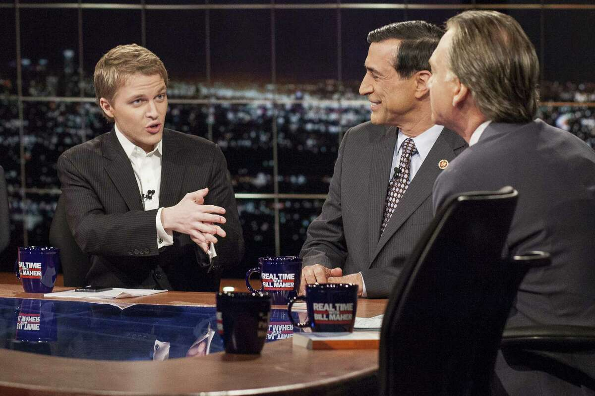 """MSNBC host Ronan Farrow (left) appears on """"Real Time with Bill Maher."""" Farrow tweeted a harsh response after Allen was awarded the Cecil B. DeMille award at the Golden Globes in January."""