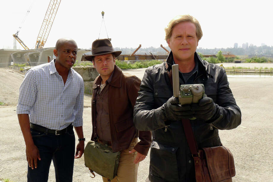 """Indiana Shawn & The Temple of the Kinda Crappy, Rusty Old Sword"" -- Pictured: (l-r) Dule Hill as Gus Guster, James Roday as Shawn Spencer, Cary Elwes as Despereaux. Photo: USA Network, USA Network/NBCU Photo Bank / 2012 NBCUniversal Media, LLC"