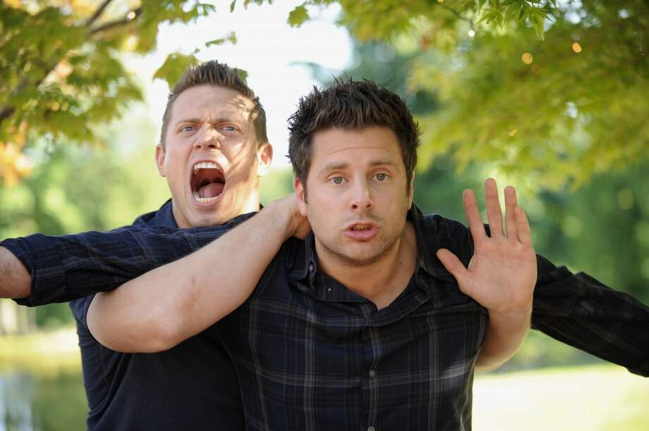 """Shawn and the Real Girl"" -- Pictured: (l-r) Michael ""The Miz"" Mizanin as Mario, James Roday as Shawn Spencer. Photo: USA Network, NBCU Photo Bank Via Getty Images"