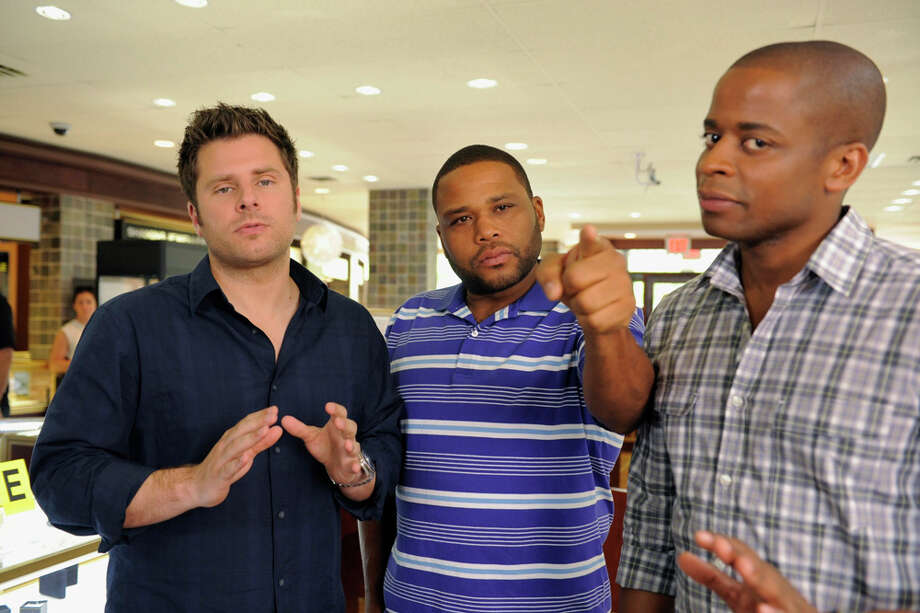 """True Grits"" Episode 609 -- Pictured: (l-r) James Roday as Shawn Spencer, Anthony Anderson as Thane, Dule Hill as Gus Guster. Photo: USA Network, USA Network/NBCU Photo Bank / 2012 USA Network Media, LLC"