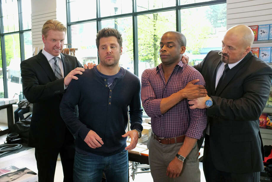 """Santabarbaratown 2"" Episode 701 --Pictured: (l-r) Jake Busey as Wingate, James Roday as Shawn Spencer, Dule Hill as Burton ""Gus"" Guster, Paul Lazenby as Vest. Photo: USA Network, USA Network/NBCU Photo Bank / 2013 USA Network Media, LLC"