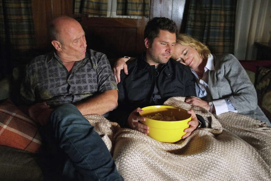 """Juliet Takes a Luvvah"" Episode 702 -- Pictured: (l-r) Corbin Bernsen as Henry, James Roday as Shawn Spencer, Cybill Shepherd as Madeleine Spencer. Photo: Alan Zenuk, USA Network/NBCU Photo Bank / 2013 USA Network Media, LLC"