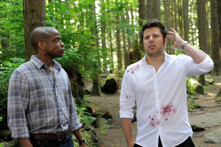 """Right Turn or Left for Dead""  Episode 708 -- Pictured: (l-r) Dule Hill as Burton 'Gus' Guster, James Roday as Shawn Spencer. Photo: USA Network, USA Network/NBCU Photo Bank / 2013 USA Network Media, LLC"