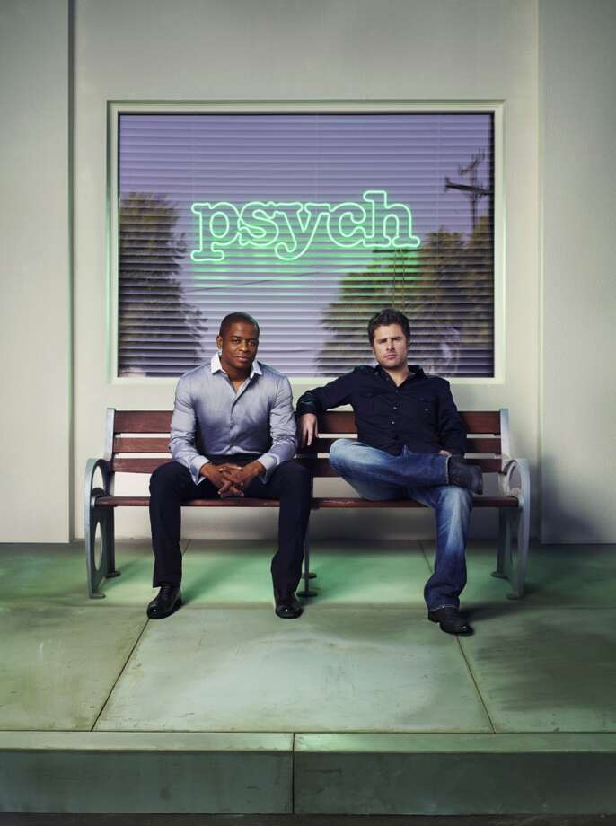 "Psych Season Four Gallery -- Pictured: (l-r) Dule Hill as Burton ""Gus"" Guster, James Roday as Shawn Spencer. Photo: USA Network, USA Network/NBCU Photo Bank"