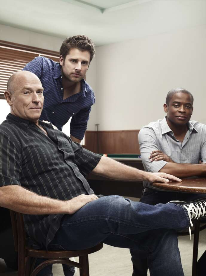 "Psych Season 4 Gallery -- Pictured: (l-r) Corbin Bernsen as Henry Spencer, James Roday as Shawn Spencer, Dule Hill as Burton ""Gus"" Guster. Photo: USA Network, USA Network/NBCU Photo Bank"