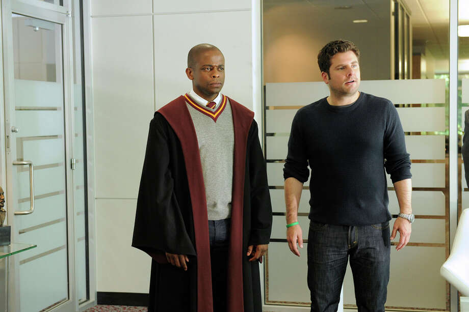 """Lock, Stock, Some Smoking Barrells and Burton Guster's Goblet of Fire"" Episode 801 -- Pictured: (l-r) Dule Hill as Burt Guster, James Roday as Shawn Spencer. Photo: USA Network, USA Network/NBCU Photo Bank / 2013 USA Network Media, LLC"