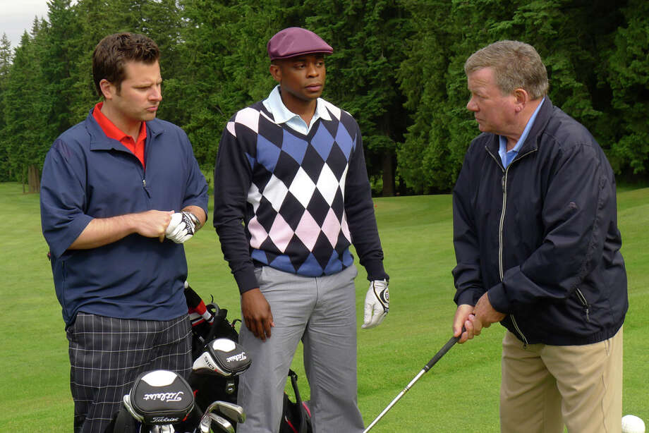 """True Grits"" Episode 607 -- Pictured: (l-r) James Roday as Shawn Spencer, Dule Hill as Gus Guster, William Shatner as Frank O'Hara. Photo: Alan Zenuk, USA Network/NBCU Photo Bank / © NBCUniversal, Inc."