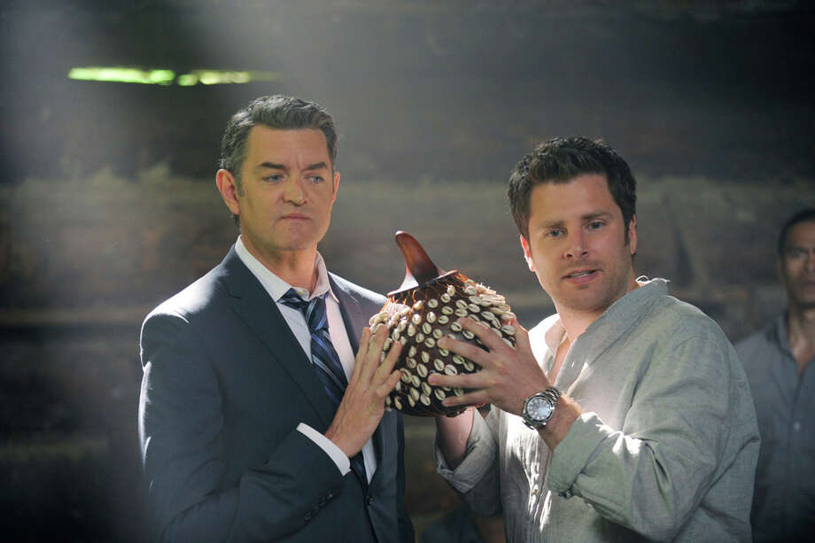 """The Tao of Gus"" Episdoe 607 -- Pictured: (l-r) Timothy Omundson as Carlton Lassiter, James Roday as Shawn Spencer. Photo: Alan Zenuk, USA Network/NBCU Photo Bank / © USA Network"