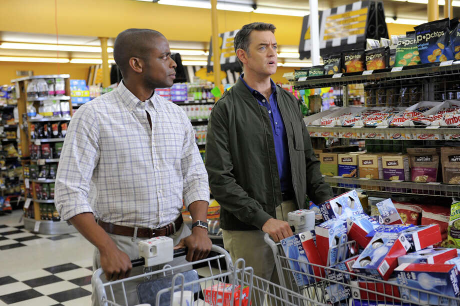 """Neil Simon's Lover's Retreat"" Episode 610 -- Pictured: (l-r) Dule Hill as Gus Guster, Timothy Omundson as Carlton Lassiter. Photo: Alan Zenuk, NBC/NBCU Photo Bank / © USA Network"