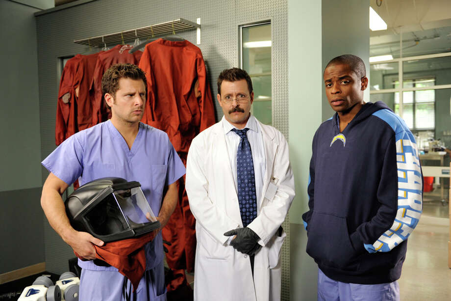 """Death Is In The Air"" Episode 4012 -- Pictured: (l-r) James Roday as Shawn Spencer, Judd Nelson as Dr. Steven Reidman, Dule Hill as Burton 'Gus' Guster. Photo: Alan Zenuk, Alan Zenuk/NBCU Photo Bank / © NBC Universal, Inc."