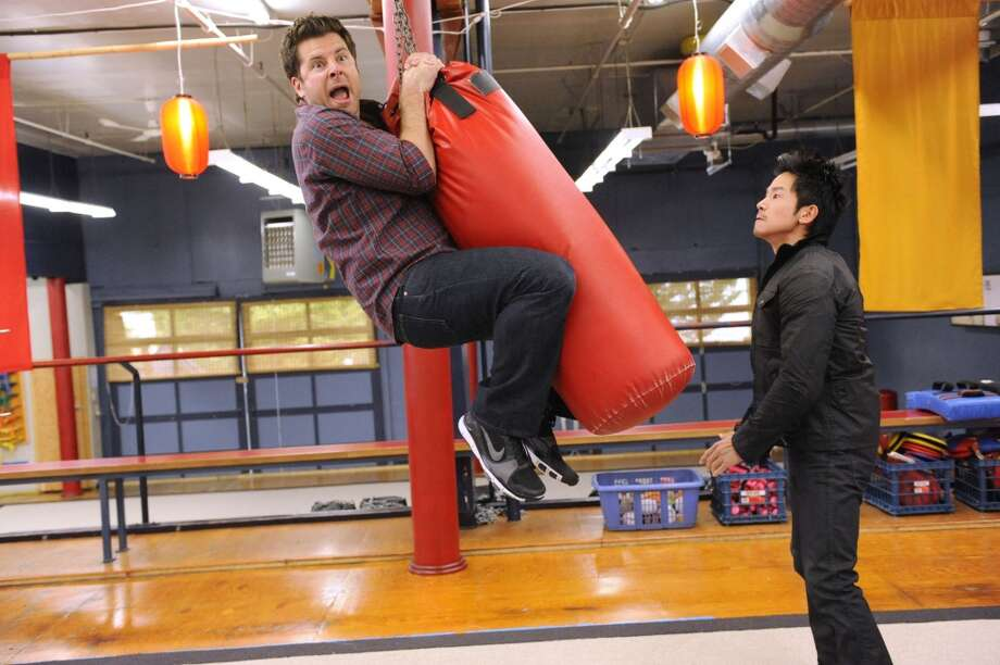 """Romeo and Juliet and Juliet"" Episode #5003 -- Pictured: (l-r) James Roday as Shawn Spencer, Johnson Phan as Teno Tan. Photo: USA Network, USA Network Via Getty Images"