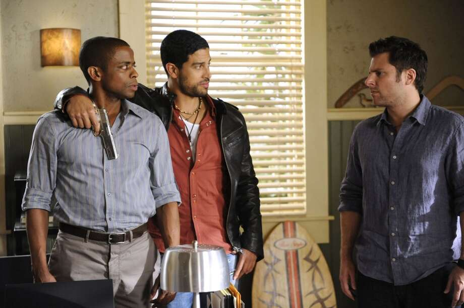 """Shaun and Gus in Drag"" Episode #5005 -- Pictured: (l-r) Dule Hill as Gus, Adam Rodriguez as Tommy Nix, James Roday as Shawn Spencer. Photo: USA Network, USA Network Via Getty Images"