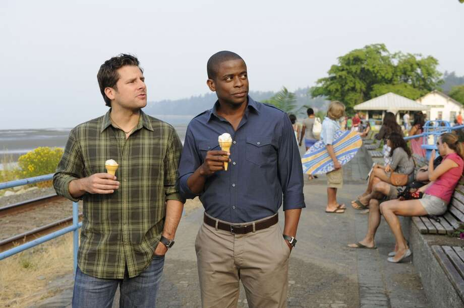 """ONE, MAYBE TWO, WAYS OUT"" Episode 5009 -- Pictured: (l-r) James Roday as Shawn Spencer, Dule Hill as Gus Guster. Photo: USA Network, USA Network Via Getty Images"