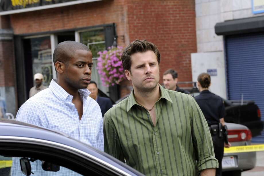"""THE POLARIZING EXPRESS"" Episode 5010 -- Pictured: (l-r) Dule Hill as Gus Guster, James Roday as Shawn Spencer. Photo: USA Network, USA Network Via Getty Images"