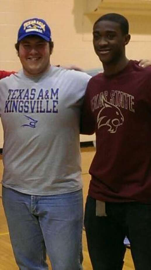 Taft seniors Austin Lawrence and PJ Anderson (from left) signed with Texas A&M-Kingsville and Texas State, respectively. Photo: Courtesy Photo