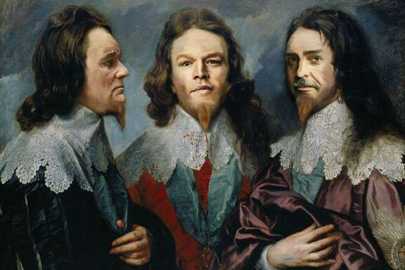 """""""Monuments Men"""" stars Bill Murray, Matt Damon and George Clooney in a reinterpretation of """"Charles I in Three Positions"""" by Anthony Van Dyck."""